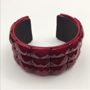 Vintage Simple Wide Red Cuff Bracelet